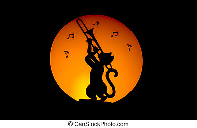 The jazz cat - Cat making music by night with moon on the...