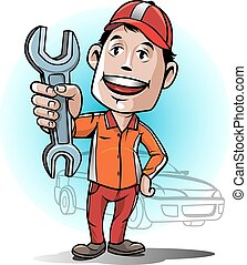Auto mechanic service center - Cartoon man with a friendly...