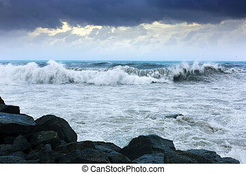 sea wave  in windy day - Surface of sea wave  in windy day