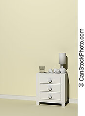 nightstand - 3d rendering of a white nightstand