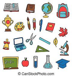 School and education set of hand drawn doodles