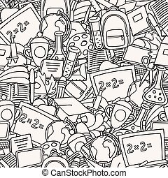 School seamless pattern with education hand drawn doodles
