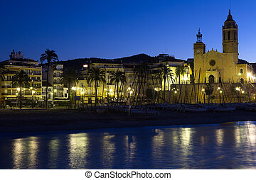 Seaside of Sitges in early morning Catalonia, Spain