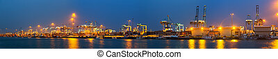 Panorama of Industrial port of Algeciras in evening Spain