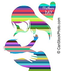 mothers Day - silhouette of a beautiful woman who is holding...