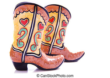 Colorful cowboy boots - A pair of colorful cowboy boots on a...