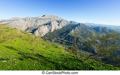mountains landscape with dam. Andalusia, Spain