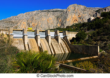 Day view of dam at Chorro river.  Andalusia