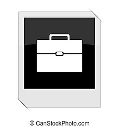 Briefcase icon within a photo on white background