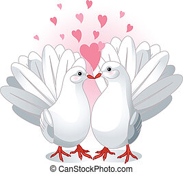 Love Doves - Illustration of two white doves pressing...