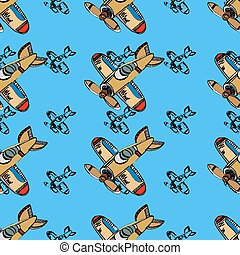 Airplanes background. - Airplanes pattern, seamless...