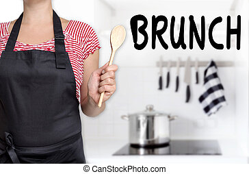 brunch cook holding wooden spoon background.