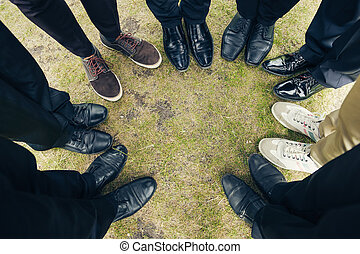 many men of different shoes top view photo
