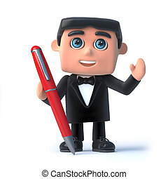 3d Bow tie spy has a pen - 3d render of a man in a tuxedo...