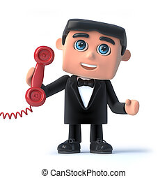 3d Bow tie spy answers the red phone - 3d render of a man in...