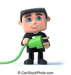 3d Bow tie spy uses green energy - 3d render of a man in a...
