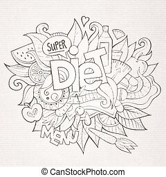 Diet hand lettering and doodles elements and symbols...
