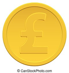 Pound sterling coin - Gold coin icon with the pound sterling...