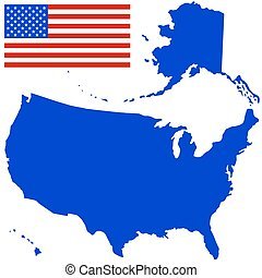 Silhouette map and flag of the USA. All objects are...