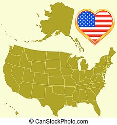 USA map and heart
