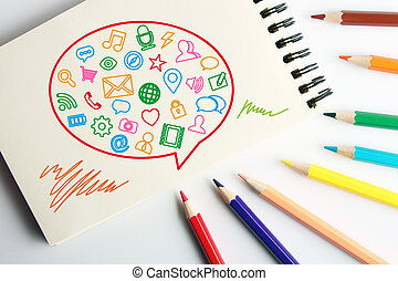 Social media concept - Business concept drawing on the paper...