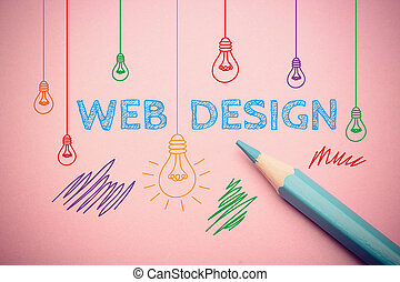 Web design - Business concept drawing on the paper with blue...