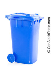 Blue trashcan isolated on a white background