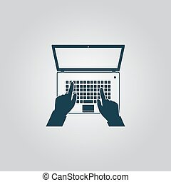 Business hands on notebook computer keyboard with open screen