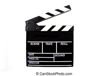 Clapboard used in the movie scene isolated over white