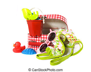 Suitcase for girls on vacation - Suitcase with travel items...