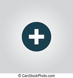 Medical cross Flat web icon or sign isolated on grey...
