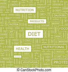 DIET. Word cloud illustration. Tag cloud concept collage.