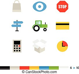 Different flat design web and application interface icons...
