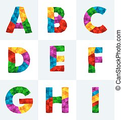 polygonal font - collection of colorful polygonal font
