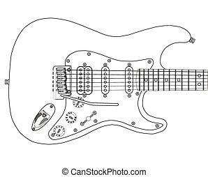 Electric Guitar Outlines - A electric guitar complete with...