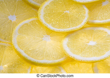 Background with lemon slices illuminated from below...