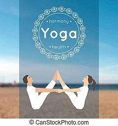 Illustration for yoga class - Vector yoga illustration Yoga...