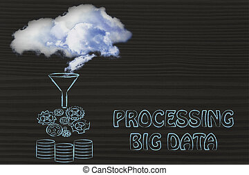 processing big data: clouds being transferred into a servers...