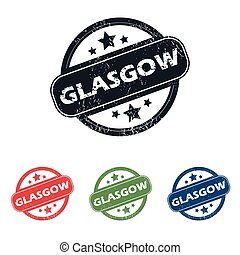 Round Glasgow city stamp set - Set of four stamps with name...