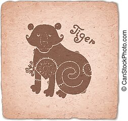 Tiger. Chinese Zodiac Sign Horoscope Vintage Card.