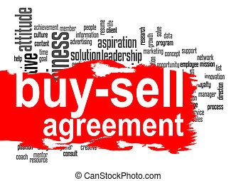 Buy-sell agreement word cloud with red banner image with...
