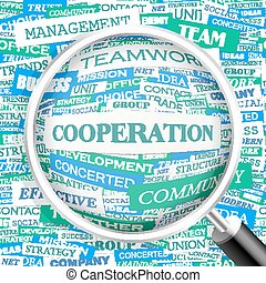 COOPERATION. Word cloud illustration. Tag cloud concept...