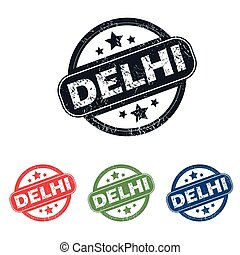 Round Delhi city stamp set - Set of four stamps with name...