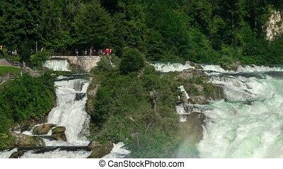 Rhine Falls in Switzerland, biggest waterfall in Europe