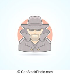 Spy, secret service agent, detective icon Avatar and person...