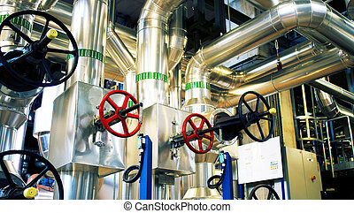 Industrial zone, Steel pipelines and pumps - Industrial...