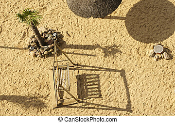 Beach swing top view - The aerial view and top view of a...