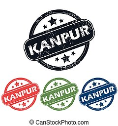 Round Kanpur city stamp set - Set of four stamps with name...