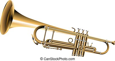 trumpet one isolated object - vector illustration gold tube...