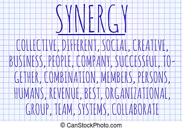 Synergy word cloud written on a piece of paper